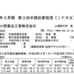 2017/02/05 決算の感想 小野薬品工業(4528) 3Q